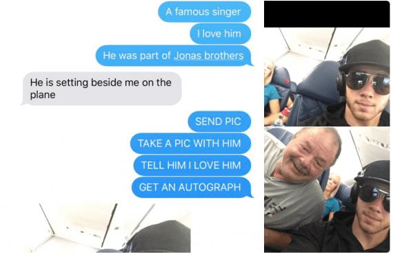 Vader komt naast Nick Jonas te zitten, maar heeft géén idee wie het is