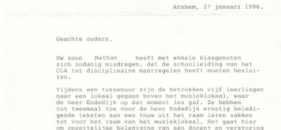 Een brief van school als je je had misdragen, zo ging dat vroeger