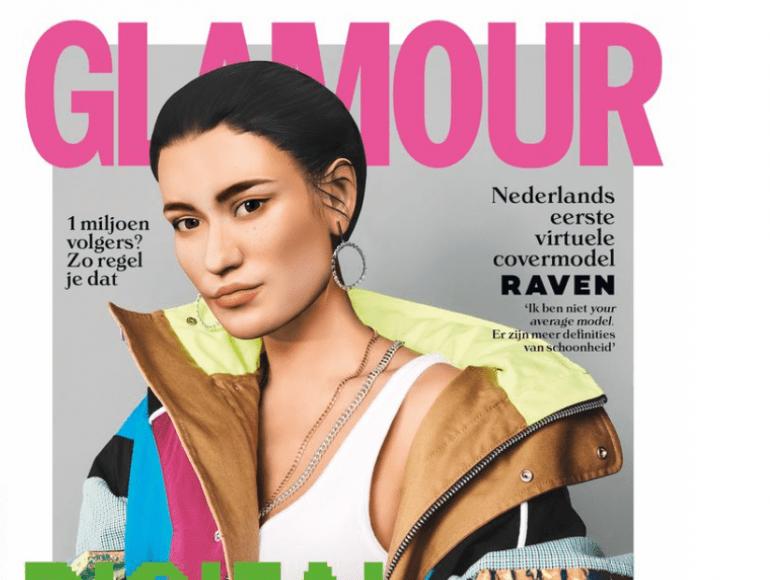 Glossy zet virtueel model op de cover